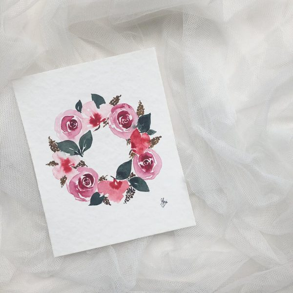 Learn How To Paint Loose Floral Wreath With Watercolor