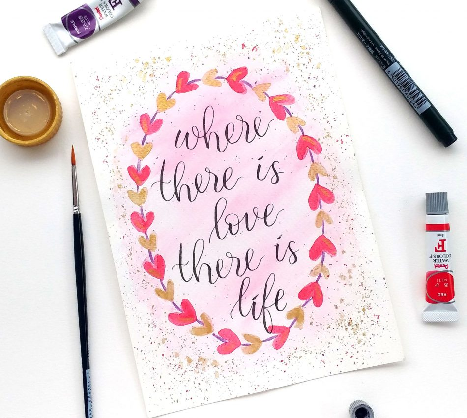 belajar water colour painting brush pen lettering