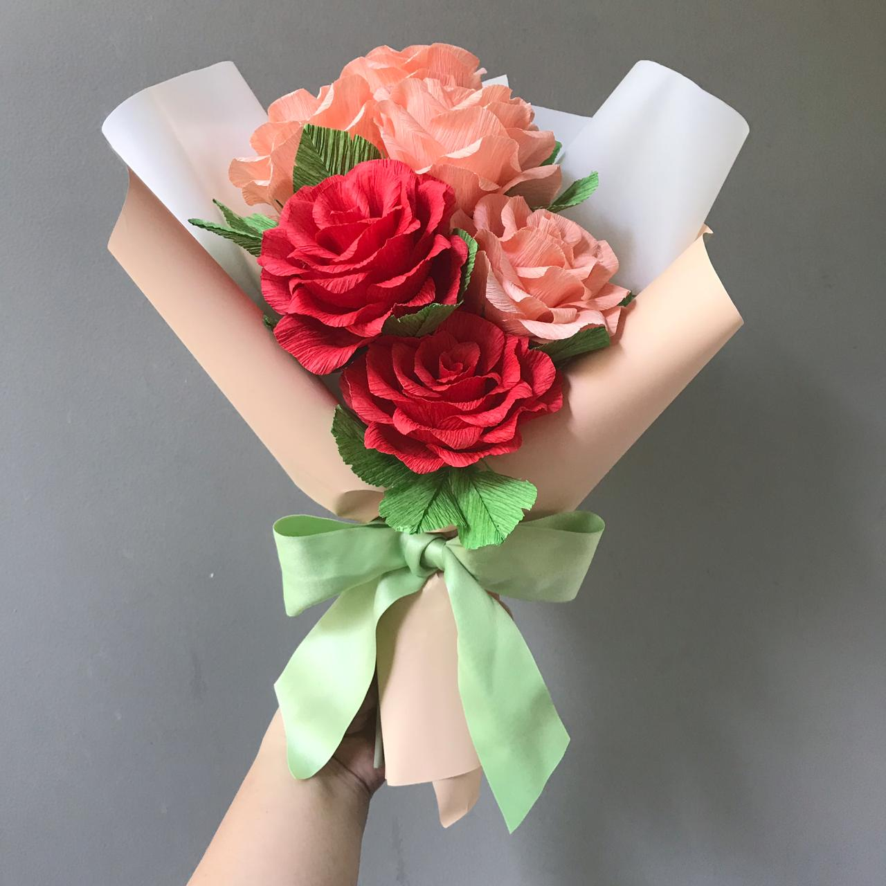 Learn How To Make Korean Wrapping Crepe Paper Flower Bouquet