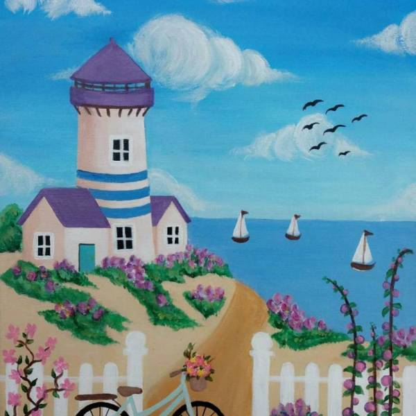 (Acrylic Painting) Learn How To Paint Lighthouse Hill