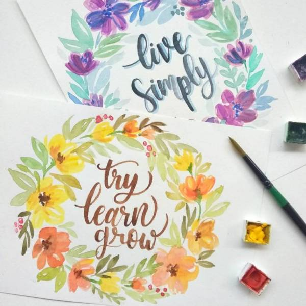 Learn The Basic Watercolor Lettering In Floral Wreath (North