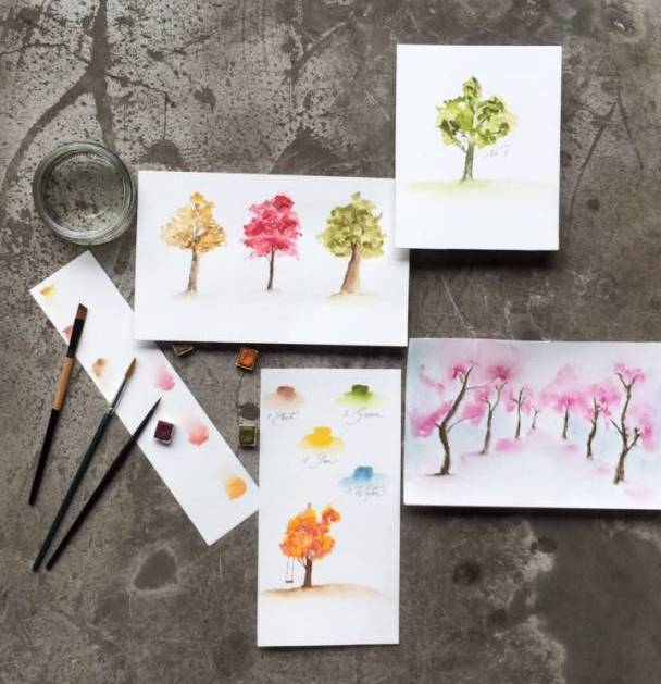 Learn How To Paint Watercolor Autumn Trees