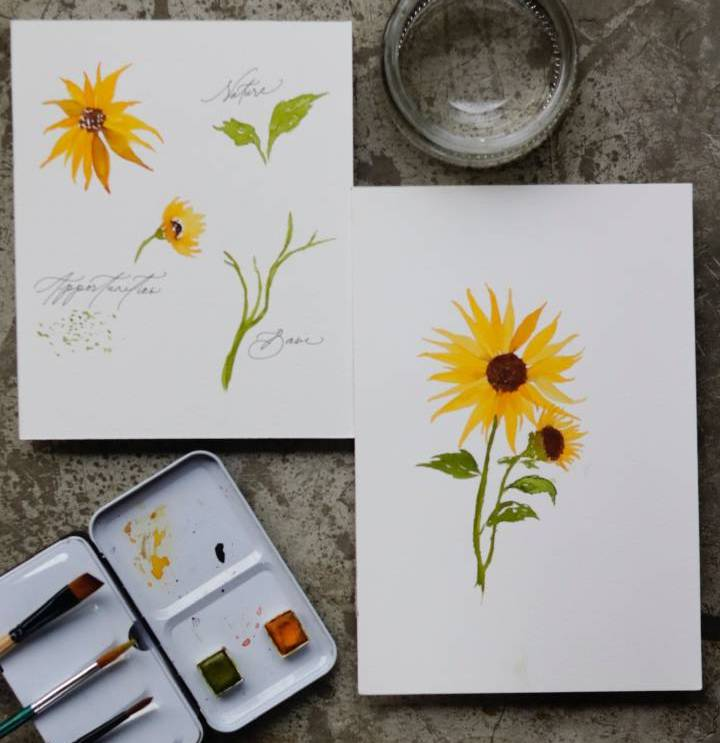 Learn How To Paint Watercolor Sun Flowers For Mothers Day