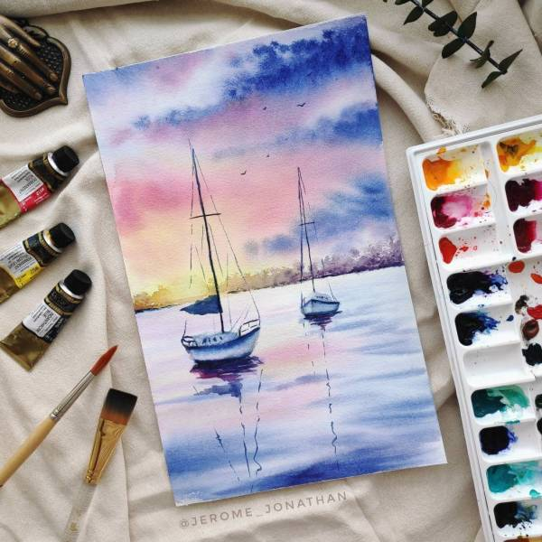 Learn How To Paint An Atmospheric Watercolor Scenery