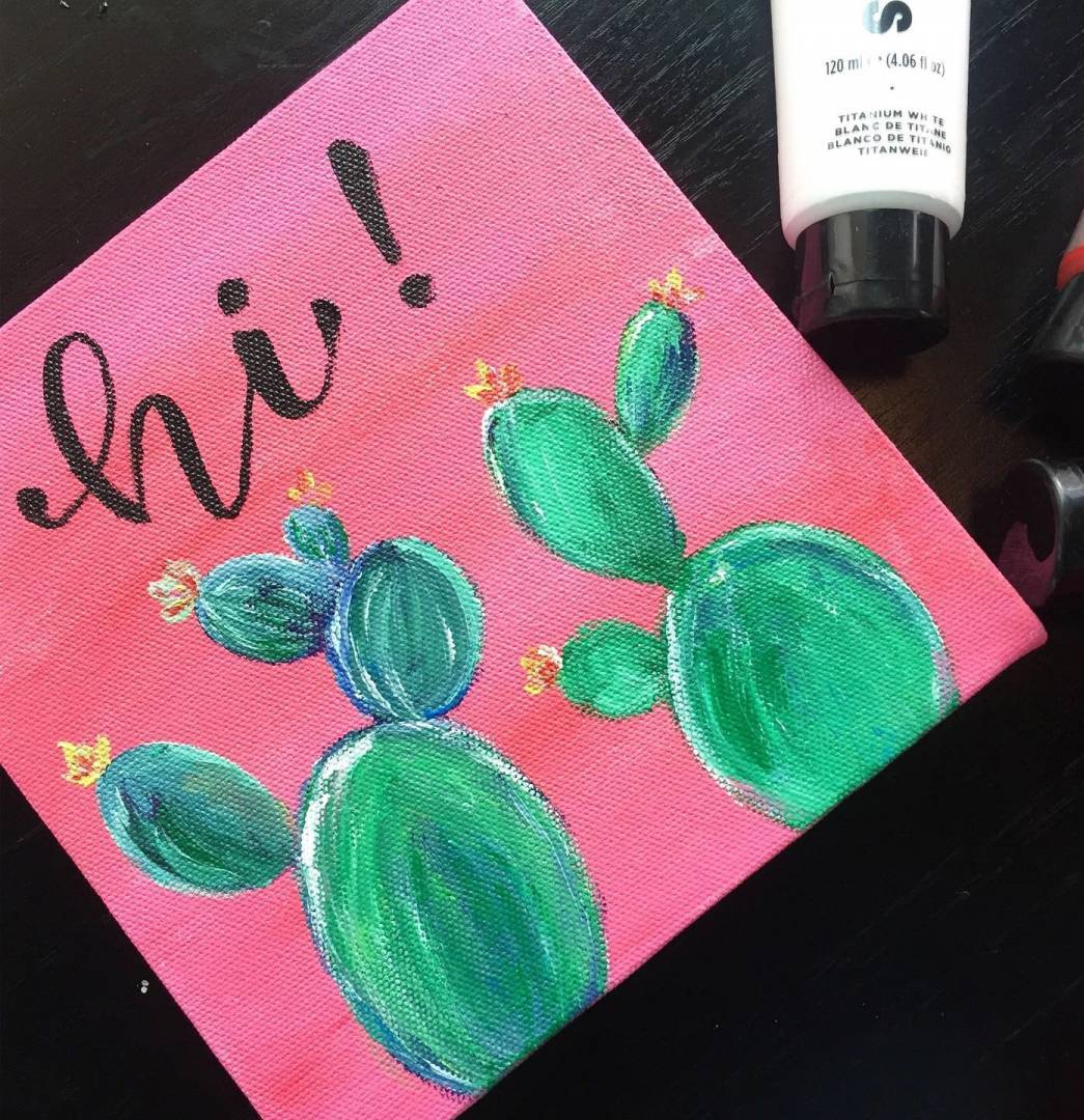 Learn How To Paint Cactus On Canvas