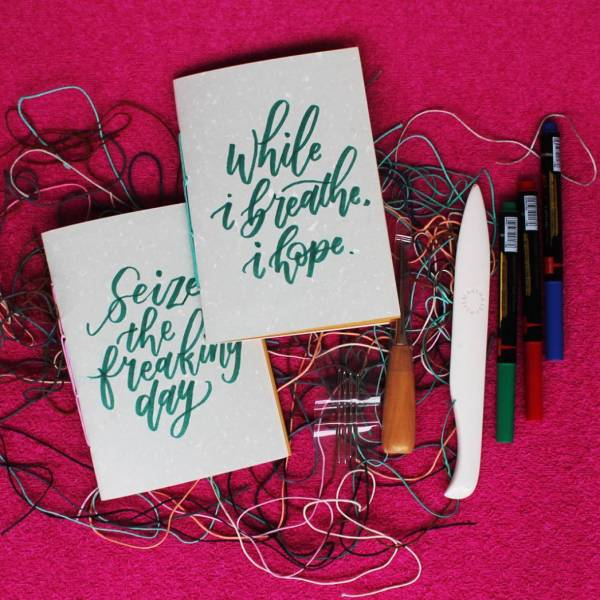 Bookbinding: Saddle Stitching With Hand Lettering On Cover
