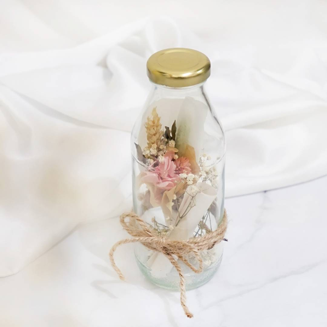 Learn How To Make A Mini Dried Flowers Bouquet and Hand-Written Message in A Bottle for Valentines Day