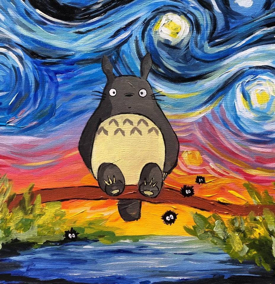 (Acrylic Painting) Learn How to Paint Totoro in Starry Night