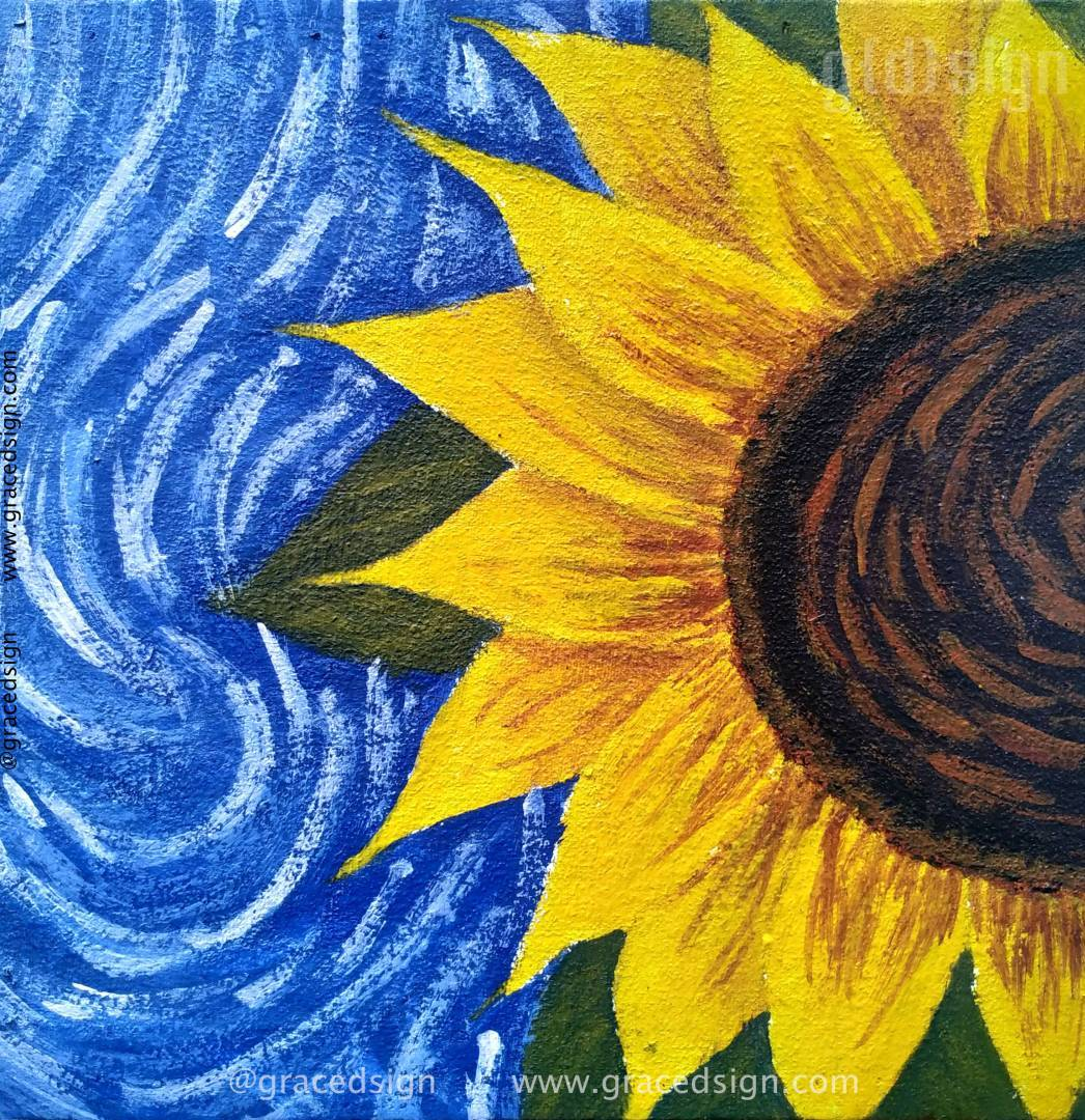 Learn How To Paint Sunflower Using Acrylic On Canvas