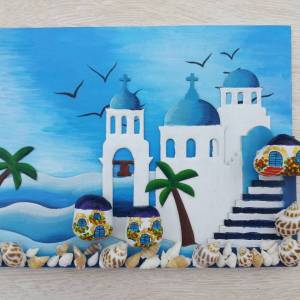 Learn How To Make Santorini Cardboard Canvas Craft