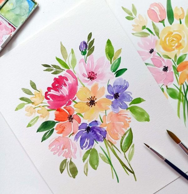 Learn The Basic Of Watercolor Floral Bouquet